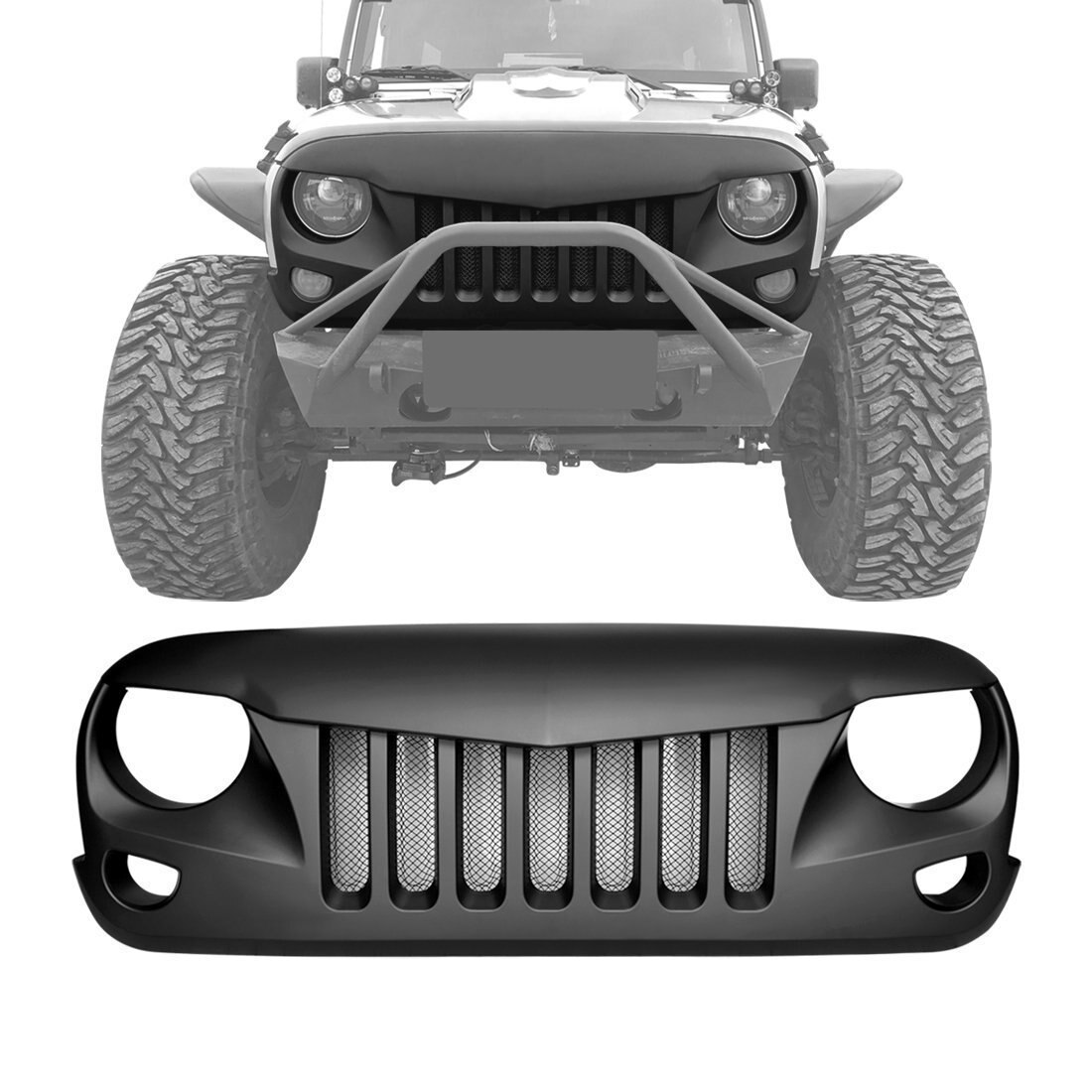 Eagle Eye Grille with Built-In Mesh for Jeep Wrangler 07-17