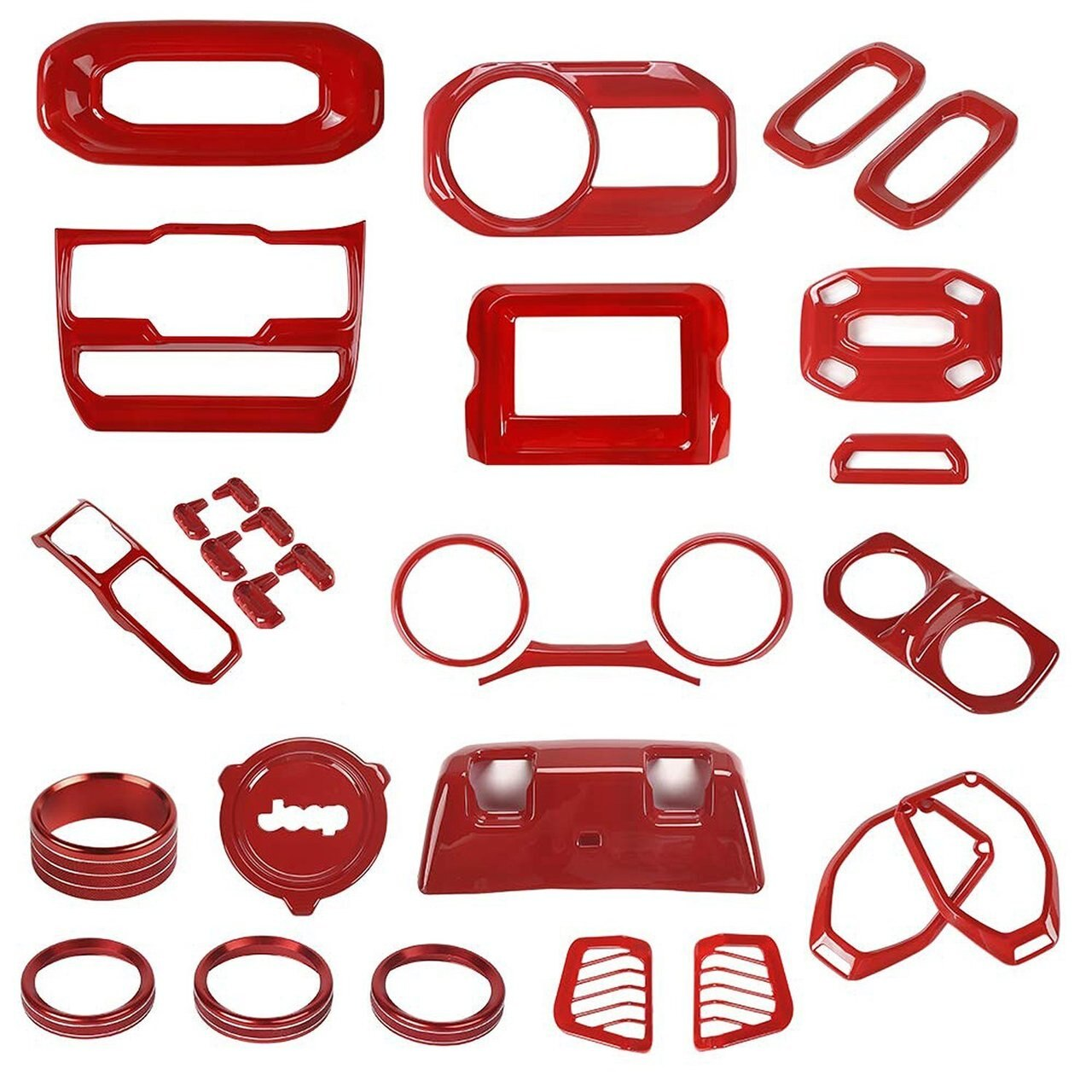 Red Full Set Interior Decoration For Jeep Wrangler 2018 JL